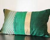 Deep Emerald Green Patchwork Brocade Silk Pillow Cover , Elegant Dark Green Brocade Cushion Cover , Decor Pillow , Green Patchwork Pillow