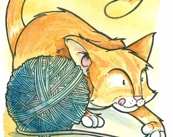 Cat Playing With Yarn Watercolor Print