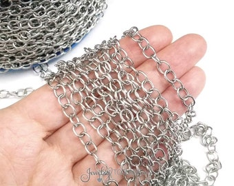 Stainless Steel Jewelry Chain, Hypoallergenic, 304 Stainless, 5x6.5mm Oval Open Links, Lot Size 4 to 20 Feet #1928
