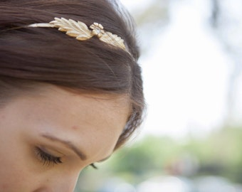 wedding headband, Bridal headband ,Grecian Headband, Wedding Hair Accessories  Greek Goddess Gold Leaf  flower  Rhinestones headpiece