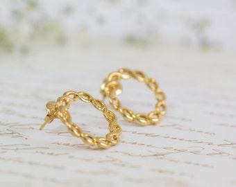 Women's Gift, Circle Jewelry, Infinity Jewelry, Dainty Gold Earrings, Friendship Jewelry, Mothers Earrings, Bridal Jewelry, Post Earrings