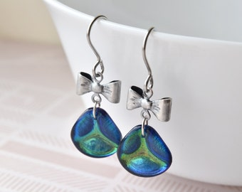 Drop Earrings -  Gift for Her - Glass Earrings -  Czech Glass - Petal Earrings - Bow Earrings