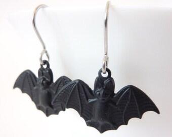Bat Earrings, Black Bats, Hypoallergenic Earrings, Bats Flying, Vampire, Surgical Steel, UK Earrings