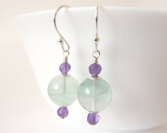 Fluorite Amethyst Earrings, Sterling Silver, Gemstone Jewellery, Purple and Green, Earrings UK