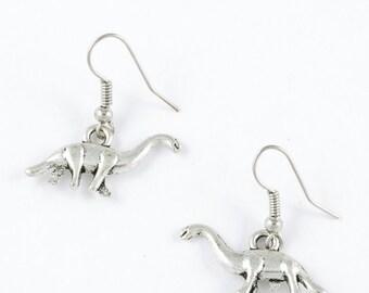 Silver Dinosaur Earrings // Brachiosaurus Silver Earrings // Brachiosaurus Jewelry // Dinosaur Jewelry