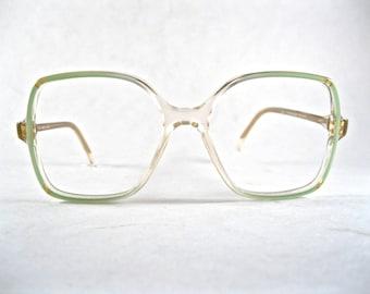 mint green square eyeglass frames. oversized 1980s retro glasses. new old stock/NOS/deadstock Made in France.