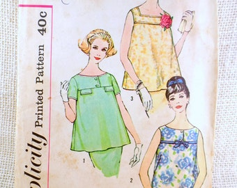 Simplicity 3053 Sewing Pattern Maternity blouse Smock Shirt Bust 32 Vintage 1960s sleeveless bubble