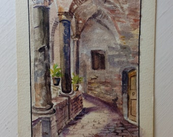 Vintage Miniature Watercolor Painting . Old Cloister San Pietro Cathedral . Perugia Italy . Architectural Antique . Religious Art . Signed