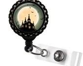 Spooky Full Moon and Haunted Church Black Retractable ID Tag Badge Reel