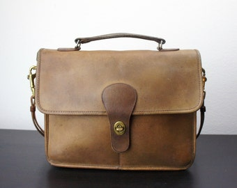Vintage Coach School Bag or Mini Top Handle Briefcase, Tan Leather, Bonnie Cashin, Small iPad Purse, Top Handle, 1970s New York City 040403