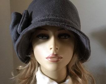 Womens WInter Hat, Womens Fleece Hat, Womens Cloche Hat, Bucket Hat--Grey with Side Bow