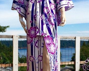 Vintage Purple LOTUS Flower KIMONO