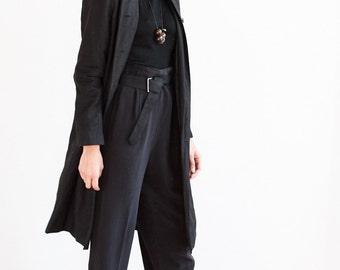 Vintage Black Linen Long Jacket