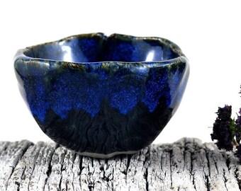 Ceramic Stoneware Bowl Rustic Blue Black Handmade Pottery Salt Cellar Foodie Gift Trinket Dish