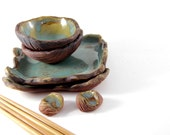 Sushi Set - Extra plates and dipping bowls with wood grain pattern