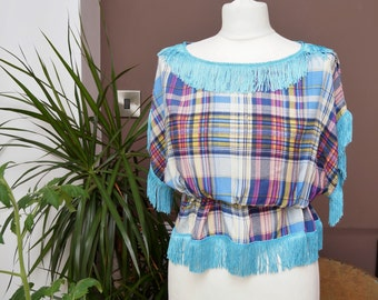 Boho check top with fringe detail