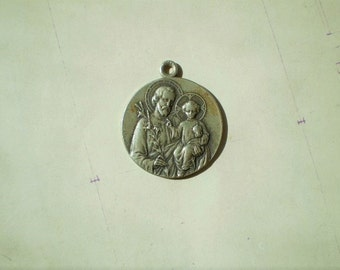 St. Joseph - Antique French Medal or Pendant - Round - Silver Metal - St. Joseph Du Mont Royal - Lavrillier - Catholic - Holy Charm