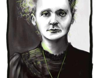 Marie Curie, A4 Fine Art Portrait Drawing Print