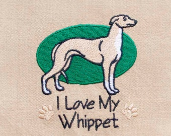 Whippet Tea Towel | Embroidered Kitchen Towel | Embroidered Towel | Kitchen Towel | Whippet Gifts | Gift for Dog Lover | Personalized