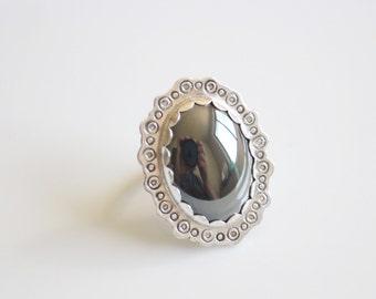 Hematite Ring Size 7.5 / Shiny Black Stone Ring / Hematine Ring / Stamped Border Cocktail Ring / Metallic Black Ring