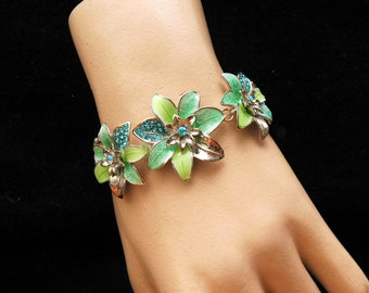 Turquoise Flower Bracelet, Crystal Bracelet, Silver Bracelet, Daisy Flower, Crystal Necklace, Turquoise Bracelet, Turquoise Necklace