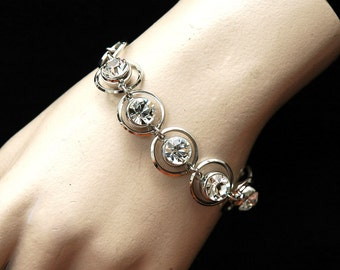 Silver Crystal Bracelet Bridal Bracelet, Wedding Bracelet, Formal Jewelry, Rhinestone Bracelet, Silver Bracelet, Wedding Jewelry