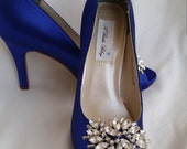 Wedding Shoes Bridal Shoes Blue Bridal Shoes with Large Sparkling Crystal Brooch -  Dyeable Shoes Over 100 Colors To Pick From
