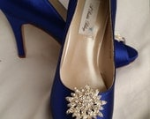 Wedding Shoes Bridal Shoes Blue Bridal Shoes with Large Sparkling Crystal Flower Brooch -  Dyeable Shoes Over 100 Colors To Pick From