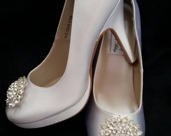 Wedding Shoes Closed Toe Bridal Shoes with Crystal Oval Brooch - Dyeable Bridal Shoes - Pick your Color