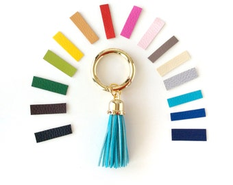 Large tassel bag charm, vegan leather tassel key chain, personalized tassel keychain, leather tassels for handbags, choose your color