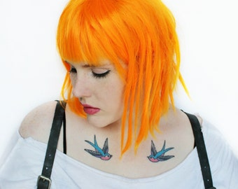 SALE Orange Cosplay wig. Halloween Costume. Halloween wig. Costume wig. Short Medium Bob wig. Dread Twist wig // Galactic Princess