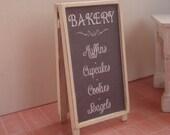 Miniature bakery menu blackboard
