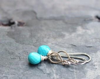Turquoise Earrings Blue Stone Gemstone Briolette Sterling Silver Dangle Earrings