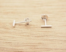 7 mm x 1 mm (thickness)High Gloss Polished Silver Square Bar Stud Earrings.Staple Studs.92.5% Sterling Silver.Nickel free.Simple minimalist.