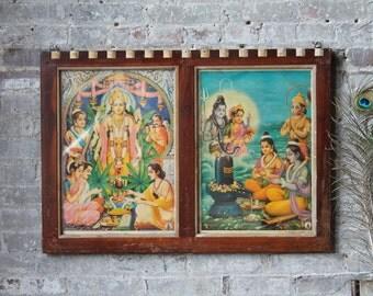 Rama Lakshman Hanuman Shiva Parvati Ramayana Vintage Framed Print Indian Hindu Deity Bohemian Decor Wall Poster Religious Art