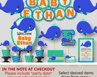 whale baby shower or whale birthday party decorations party favors invitation banner