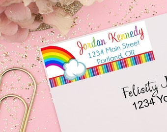 Rainbow Party Address Labels, Kids Address Labels, Rainbow Birthday Party, Rainbow Party Favors, Rainbow Stickers, Mailing Labels
