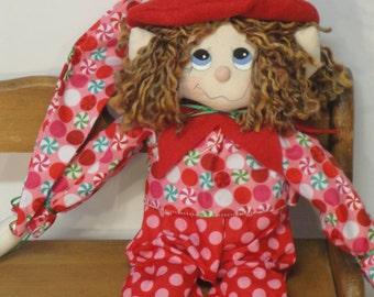 Primitive Elf Whimsical Christmas cloth doll