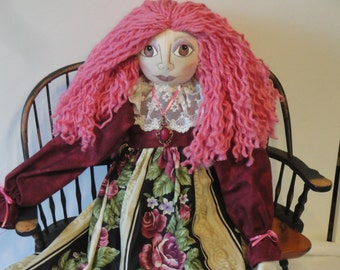 OOAK Art doll pink hair cloth art doll hand made 26 inch cloth doll whimsical art doll by Morning Mist Designs