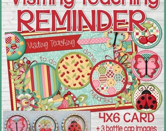 Visiting Teaching Reminder Card with Bottle Cap Magnets - VT, RS, LDS, Relief Society - Printable Instant Download