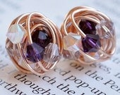 Purple Sparkle Series - Handmade Wire Wrapped Rose Gold Stud Earrings - Made with Purple, Mauve, and White Opal Swarovski Crystal Beads