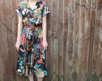 Vintage Short Sleeve Topical Jungle Print Full Sweep Dress