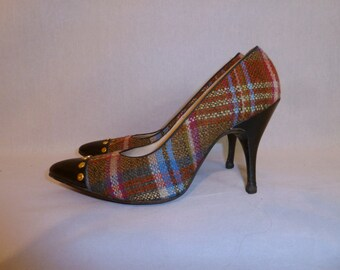 50s Plaid Stilettos - Pointy Toe Tap Pumps - Gold Studs - Brown Orange Blue Purple High Heels - De Liso Debs - Vintage 1950s - 4 1/2 4.5 B