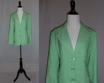 80s Green Check Jacket - Fitted Preppy Spring Summer - JH Collectibles - Vintage 1980s - M