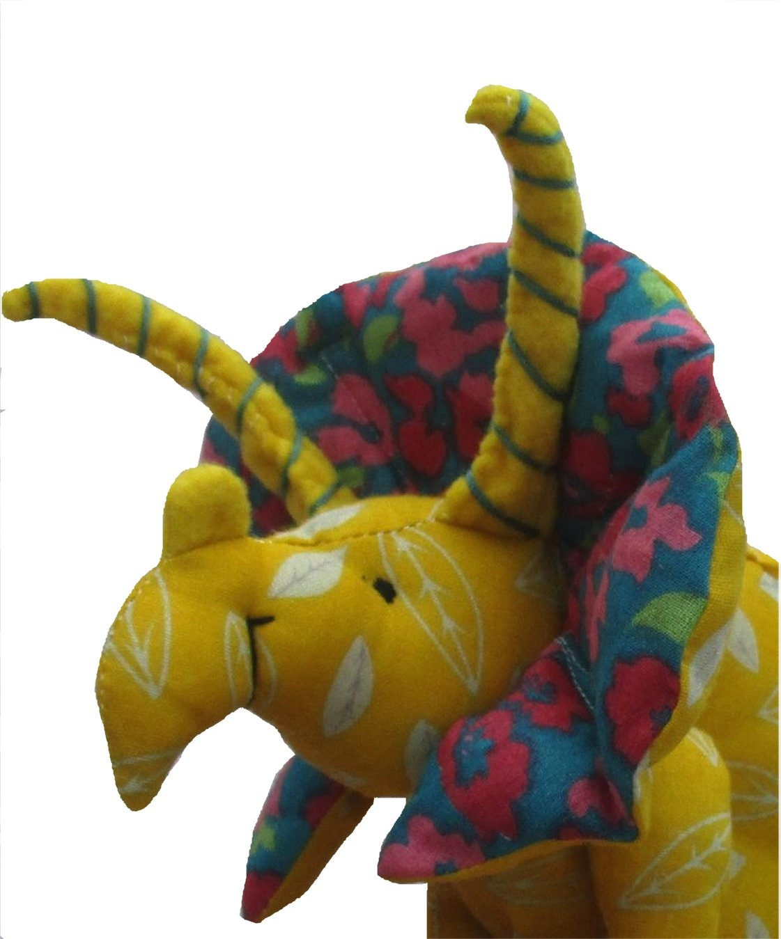 Dinosaur Soft Toy Digital Sewing Pattern Fabric Triceratops