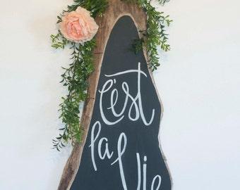 Wedding Chalkboard Wood Slab Sign No. 1 - Custom Text