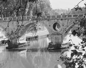 B&W Rome Photography - Italy Wall Art - Architecture Print - Fall in Rome - Bridge Wall Art - Black and White Print - Travel Photography