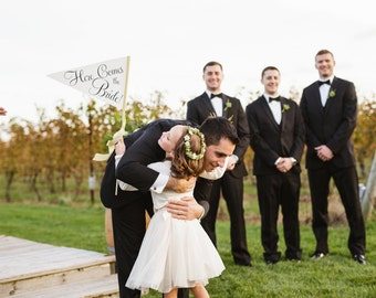 Gold & Black Here Comes The Bride Wedding Sign {In Stock} Large Pennant Flag | Wood Dowel Heavy Paper Glitter Gold Metallic Classic Script