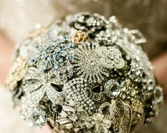 Crystal Brooch Bouquet - Custom Small Modern Domed Brooch and Jewelry Bouquet - Handcrafted in USA by Ritzy Rose | Heirloom Silver Bouquet