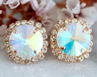 Bridal Earrings,AB Swarovski Stud Earrings,Bridesmaids Earrings,Bridal Crystal Round Earrings,Gift For Her,Aurora Borealis Crystal Earrings